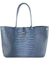 Lyst - Longchamp Roseau Medium Floral Satchel Bag in White 327156a3f657f