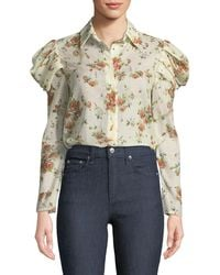 Brock Collection - Tanner Button-front Voluminous-sleeve Rose-print Cotton Blouse - Lyst