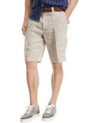 Brunello Cucinelli - Linen Cargo Shorts - Lyst