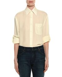 Tom Ford - Light-washed Twill Button-front Blouse - Lyst