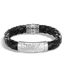John Hardy - Men's Large 12mm Classic Chain Woven Leather Bracelet - Lyst