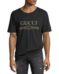 9afb985b6926 Gucci Washed T-shirt With Print in Black for Men - Lyst