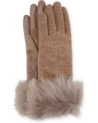 UGG - Knit & Leather Gloves W/ Fur Cuffs - Lyst
