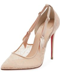 7f3bbd4ee05 Lyst - Christian Louboutin Hot Jeanbi Lace 100 Pump in Natural