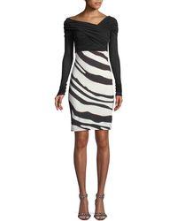 Roberto Cavalli - Bateau-neck Long-sleeve Ruched-top Zebra-print Bottom Dress - Lyst