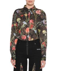 Off-White c/o Virgil Abloh - Long-sleeve Button-down Floral-print Blouse - Lyst