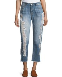Band Of Gypsies - Distressed Straight-leg Ankle Jeans - Lyst