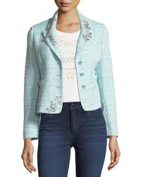 Boutique Moschino - Embellished Bouclé Blazer - Lyst