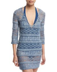 Queen & Pawn - Cybella 3/4-sleeve Lace Coverup Dress - Lyst