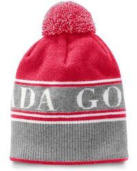 Canada Goose Logo Toque Beanie Hat W/ Pompom - Red