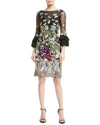 Jovani | Butterfly-embroidered Lace Trumpet-sleeve Dress | Lyst
