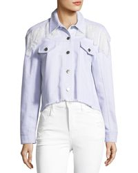 Cinq À Sept | Ismay Button-front Cropped Denim Jacket With Lace | Lyst