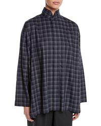 Eskandar - Plaid Two-collar Button-front Cotton Blouse - Lyst