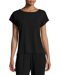 Eileen Fisher - Petite Short-sleeve Bateau-neck Jersey Top - Lyst