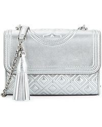 396aa04fef68 Tory Burch - Fleming Small Convertible Metallic Leather Shoulder Bag - Lyst