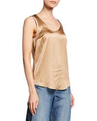 Brunello Cucinelli - Reversible Silk-stretch Satin Scoop-neck Tank Top - Lyst