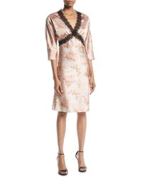 Brock Collection - Dharma V-neck Elbow-sleeve Floral-print Satin Dress W/ Lace - Lyst