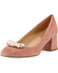 Sesto Meucci - Mindy Low-heel Pearly Ornament Pumps Antique Rose - Lyst