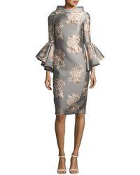 Badgley Mischka - Funnel-neck Flutter-sleeve Floral-jacquard Cocktail Dress - Lyst