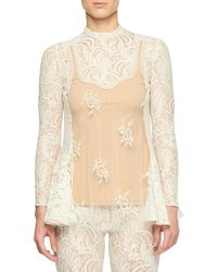 c98184bfc06f3 Stella McCartney - Long-sleeve Sheer Front Pearlescent-bead Lace Blouse -  Lyst