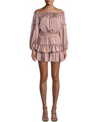 MISA - Romi Off-the-shoulder Tiered Ruffle Mini Dress - Lyst