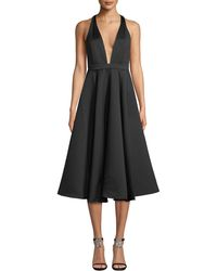 Jay Godfrey - Sewelyn Plunge-neck Fit-and-flare Dress - Lyst