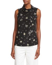 Creatures of the Wind - Wheat-print Folded-collar Sleeveless Blouse - Lyst