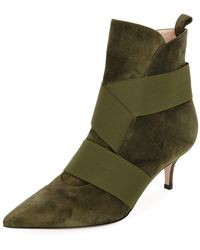 Gianvito Rossi - Suede Bootie With Stretch Straps - Lyst