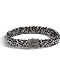 John Hardy - Men's Classic Chain Flat Matte Black Silver Bracelet - Lyst