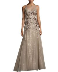 Liancarlo - Floral-embroidered Illusion Gown - Lyst