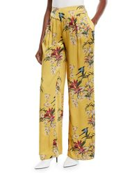 Johanna Ortiz - Specialist Of The Beyond High-waist Wide-leg Floral-print Silk Satin Pajama Trouser - Lyst