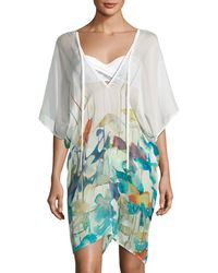 Shan - Lily V-neck Watercolor-print Poncho Coverup - Lyst
