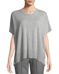Michael Kors - Crewneck Short-sleeve Melange Draped Cashmere Pullover - Lyst