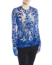 Naeem Khan - Jewel-neck Long-sleeve Sequined Lace Blouse - Lyst