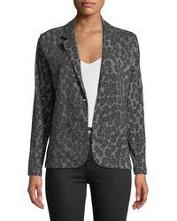 Neiman Marcus - One-button Leopard-print Cotton/cashmere Blazer - Lyst