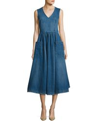 Co. - Sleeveless Denim Midi Prairie Dress - Lyst