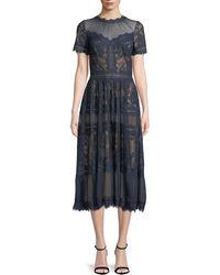 Tadashi Shoji - Lace High-neck Pleated A-line Cocktail Dress - Lyst