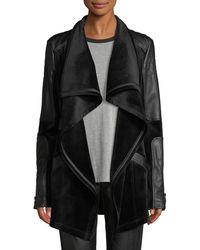 BLANC NOIR - Drape Velour & Faux-leather Belted Jacket - Lyst