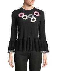 Kate Spade - Crochet Floral Bell-sleeve Peplum Sweater - Lyst