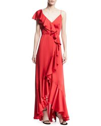 JILL Jill Stuart | V-neck A-line Asymmetric Ruffle Gown | Lyst