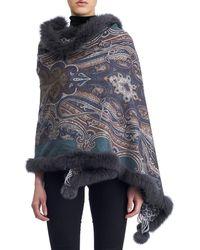 Gorski - Paisley Cashmere Stole W/ Fur Trim - Lyst