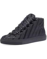 f79e31856515 Balenciaga - Men s Arena Striped Leather Mid-top Sneaker - Lyst