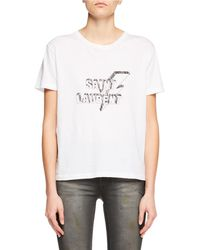 Saint Laurent - Crewneck Short-sleeve Cotton Tee W/ Lightning Bolt Logo Graphic - Lyst