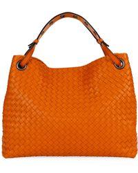 07b9fedff9 Bottega Veneta Intrecciato Small Crossbody Bag in Natural - Lyst