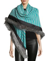 Missoni - Fur-trim Striped Stole - Lyst