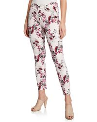 7 For All Mankind - Floral-print Mid-rise Skinny Ankle Jeans - Lyst
