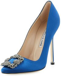 Manolo Blahnik - Hangisi 115mm Satin Crystal-toe Pump - Lyst