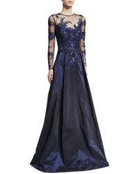 Teri Jon - Long-sleeve Illusion Lace Taffeta-skirt Evening Gown - Lyst
