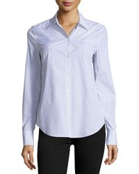 Theory   Dalton Striped Perfect-fit Blouse   Lyst