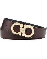 Ferragamo - Men's Reversible Leather Gancini-buckle Belt - Lyst